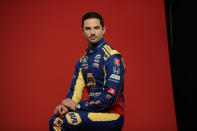 In this Feb. 10, 2020, photo, IndyCar driver Alexander Rossi poses for photos during IndyCar Media Day in Austin, Texas. Rossi, Scott Dixon and the rest of the IndyCar drivers were in sunny Florida around spring break ready to start the season. (AP Photo/Eric Gay)