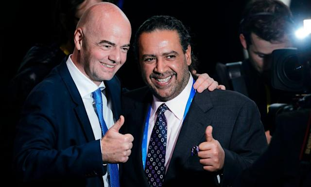 """<span class=""""element-image__caption"""">Gianni Infantino, left, celebrates his election as Fifa president in 2016 with Kuwait's Sheikh Ahmad, who has resigned from the council following allegations of corruption which he denies.</span> <span class=""""element-image__credit"""">Photograph: Fabrice Coffrini/AFP/Getty Images</span>"""