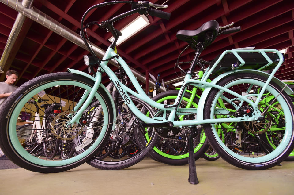 A Pedego Interceptor electric assisted bike is seen at Small Planet E Bikes. (Photo by Matt Jonas/Digital First Media/Boulder Daily Camera via Getty Images)