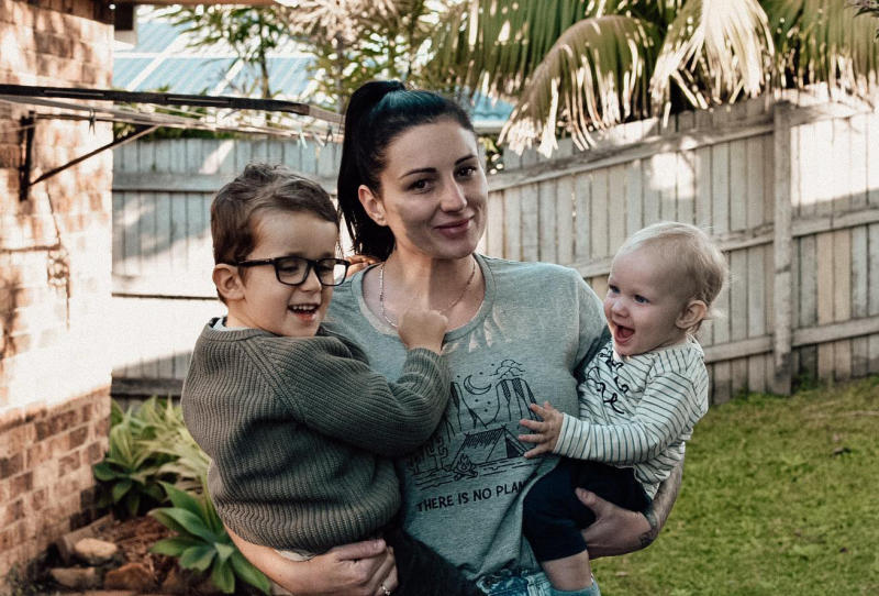 Emma, pictured here with Harlen and his younger brother Vinny, said she wished there were more books featuring inclusive characters. Photo: Supplied