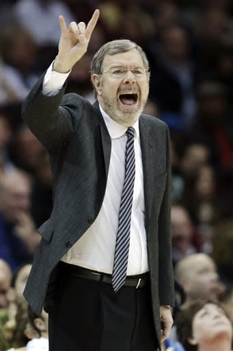Brooklyn Nets interim head coach P.J. Carlesimo reacts during the second quarter of an NBA basketball game against the Cleveland Cavaliers, Wednesday, April 3, 2013, in Cleveland. The Nets won 113-95. (AP Photo/Tony Dejak)