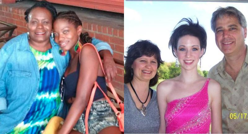 Left: Brianna with her mother as a young girl; Right: Julia with her parents before high school prom in 2008. (Brianna/Julia)