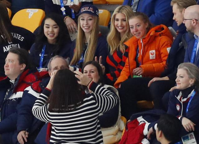 Speed Skating - Pyeongchang 2018 Winter Olympics - Men's Mass Start semifinal - Gangneung Oval - Gangneung, South Korea - February 24, 2018 - A fan takes a picture of U.S. President Donald Trump's daughter and senior White House adviser, Ivanka Trump and Esmee Visser (R). REUTERS/Phil Noble