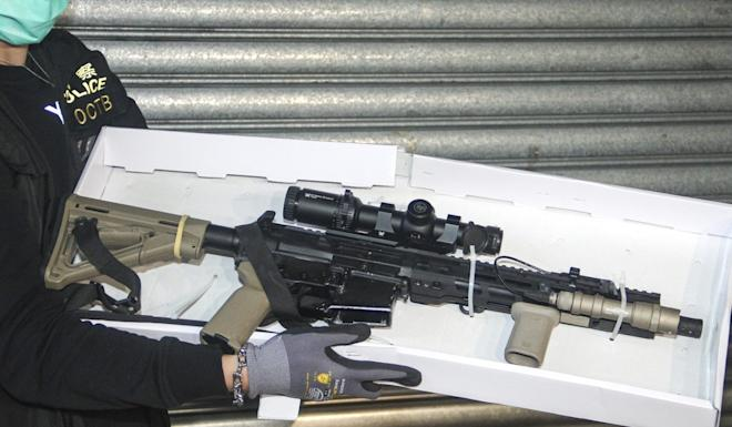The court heard that David Su unlawfully possessed a pistol, this AR-15 semi-automatic rifle, 44 pistol bullets and 211 rifle bullets stored in nine magazines. Photo: Handout