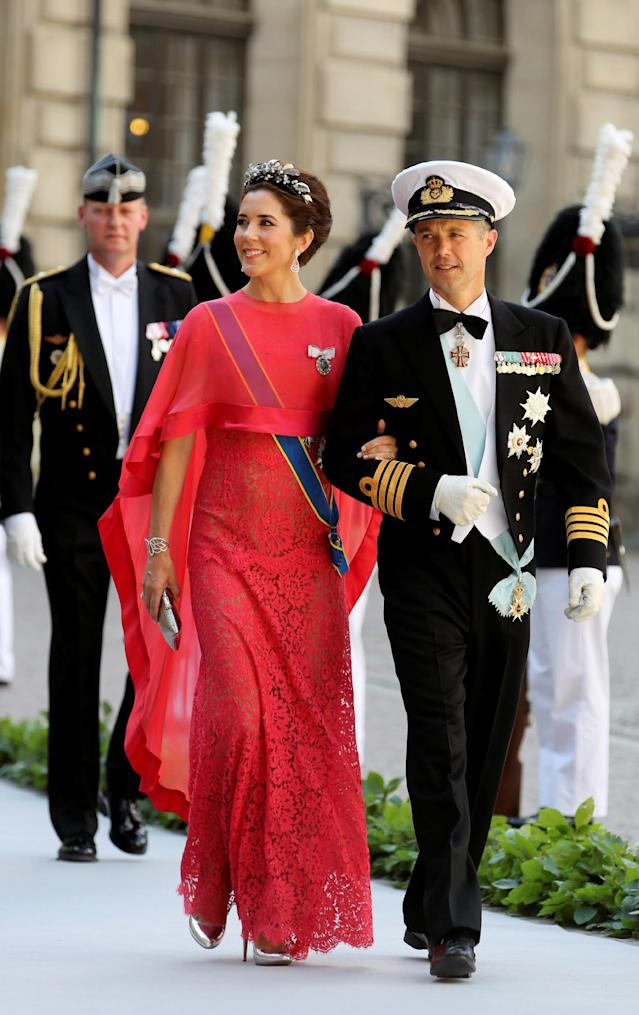 Crown Prince Frederik and Crown Princess Mary of Denmark arrive at the Royal Chapel for the wedding of Sweden's Princess Madeleine and Christopher O'Neill, in Stockholm, Saturday June 8, 2013. (AP Photo/Soren Andersson) SWEDEN OUT