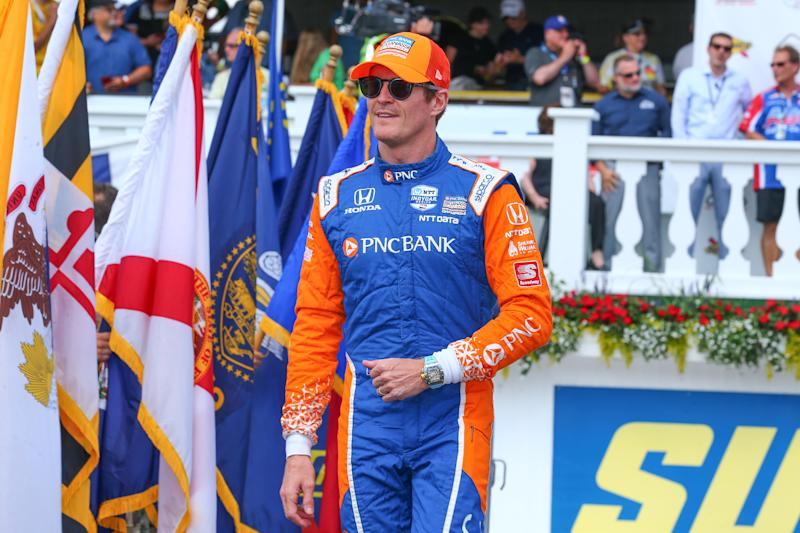 LONG POND, PA - AUGUST 18: Scott Dixon driver of the #9 PNC Bank Chip Ganassi Racing Honda during driver introductions prior to the IndyCar Series - ABC Supply 500 on August 18, 2019 at Pocono Raceway in Long Pond, Pa. (Photo by Rich Graessle/Icon Sportswire via Getty Images)