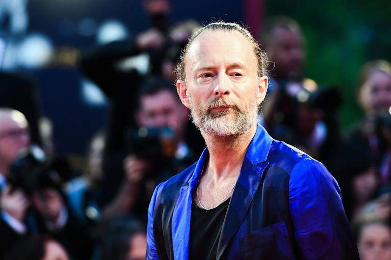 "Musician Thom Yorke arrives for the premiere of the film ""Suspiria"" presented in competition on September 1, 2018 during the 75th Venice Film Festival at Venice Lido. (Photo by Vincenzo PINTO / AFP) (Photo credit should read VINCENZO PINTO/AFP/Getty Images)"