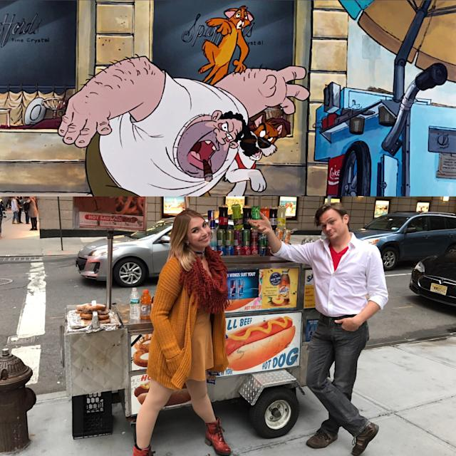 """Sara Katz-Scher (<span>@ThatPrincessGirl</span>) as Oliver and her friend Neil A. Williams (<span>@lostboycosplay</span>) as Dodger from """"Oliver and Company""""during a trip to New York City. (@ThatPrincessGirl)"""