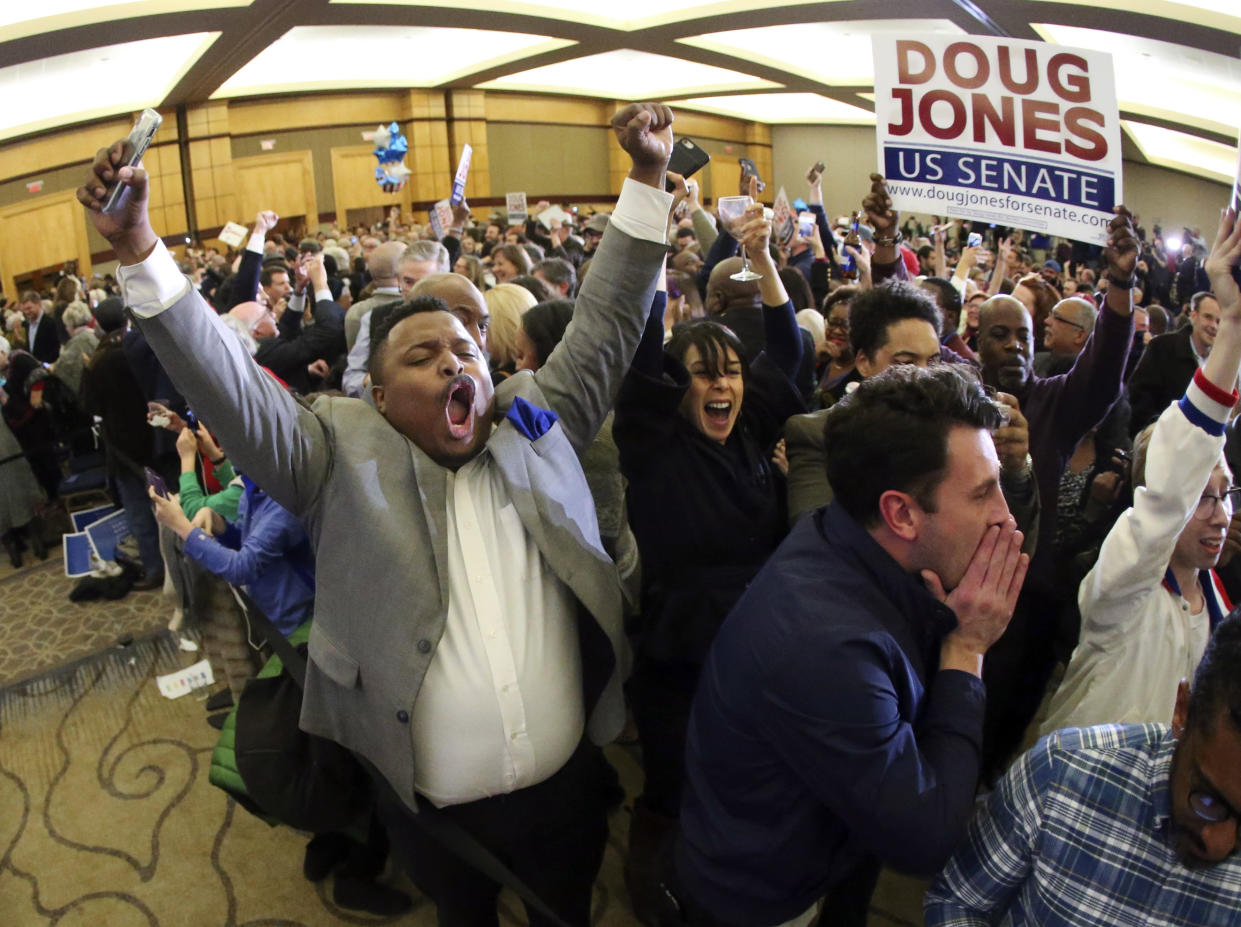 """<span class=""""s1"""">Supporters of Doug Jones celebrate at an election-night watch party in Birmingham, Ala. (Photo: John Bazemore/AP)</span>"""