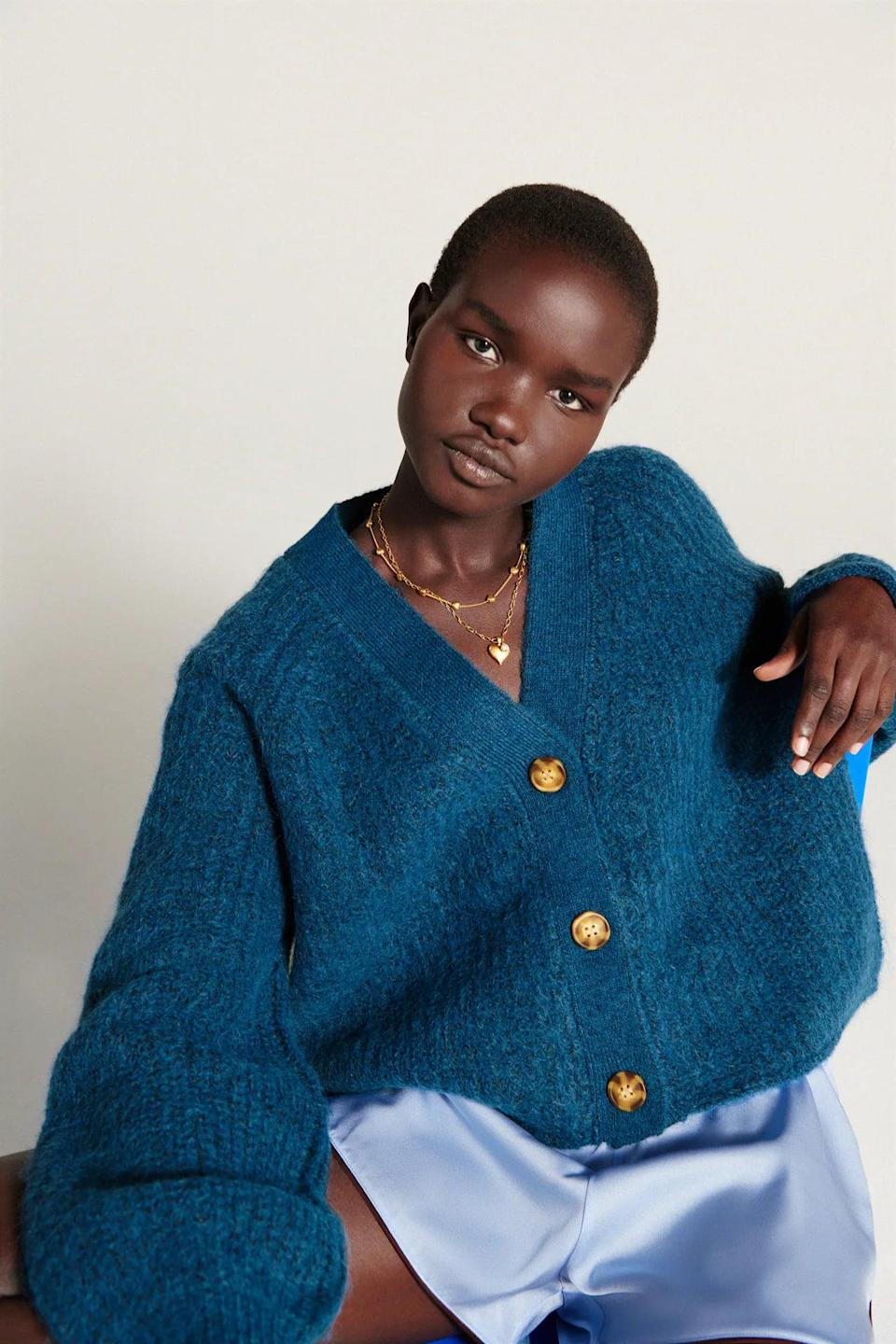 <p>You can wear this <span>Zara Purl Knit Jacket</span> ($50) with pretty much anything. We love the chic blue shade.</p>