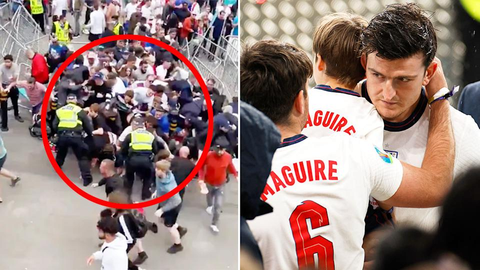 Pictured right, England's Harry Maguire and ticketless fans storming Wembley stadium on the left.