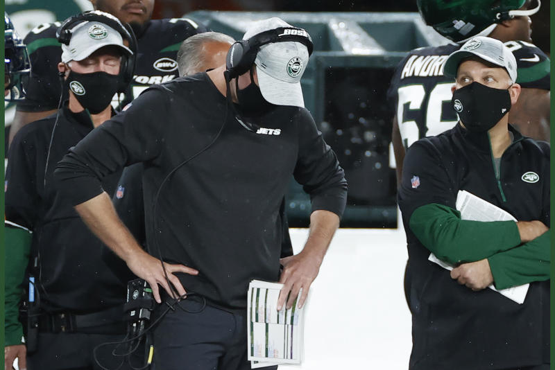New York Jets head coach Adam Gase reacts during an NFL game against the Denver Broncos.