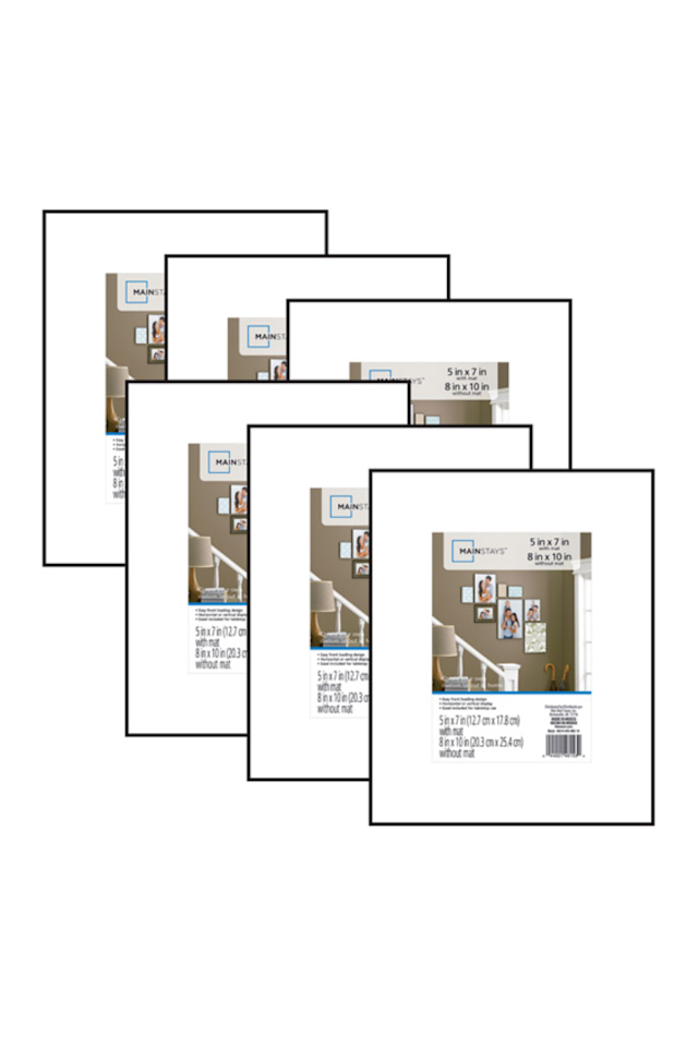 """<p><strong>Mainstays 8x10 Matted Picture Frames Set of 6, <em>$7.99</em></strong></p><p><a class=""""body-btn-link"""" href=""""https://go.redirectingat.com?id=74968X1596630&url=https%3A%2F%2Fwww.walmart.com%2Fip%2FMainstays-8x10-matted-to-5x7-Format-Picture-Frame-Set-of-6%2F34456364&sref=http%3A%2F%2Fwww.housebeautiful.com%2Fshopping%2Fbest-stores%2Fg28425217%2Fcheap-picture-frames%2F"""" target=""""_blank"""">BUY NOW</a></p><p>Hands down, the cheapest frames you'll find are from the Mainstays line at Walmart. They're perfect if you just want a simple frame and a lot of bang for your buck, and often come in large packs, like this set of six frames for just $8.<strong><br></strong></p><p><strong>Shop more frames at <a href=""""https://www.walmart.com/browse/decor/picture-frames/4044_133012_672579"""" target=""""_blank"""">Walmart.com</a>.</strong></p>"""