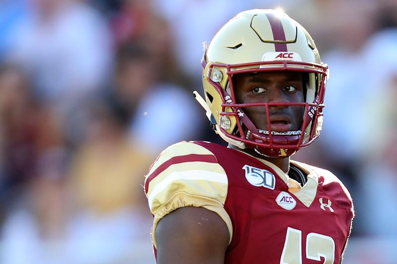 Boston College QB Anthony Brown looks on during a game against Wake Forest on Sept. 28. (Maddie Meyer/Getty Images)