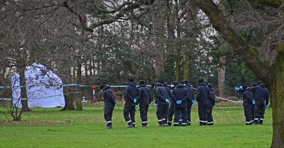 Police search teams at Brackenwood Park and Golf course, Bebington, Wirral the scene of where a baby boy was found dead.