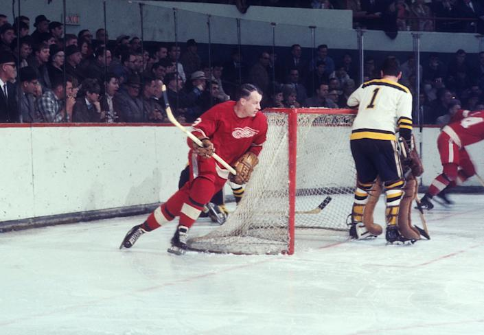 Detroit Red Wings right wing Gordie Howe in action during the 1960s.