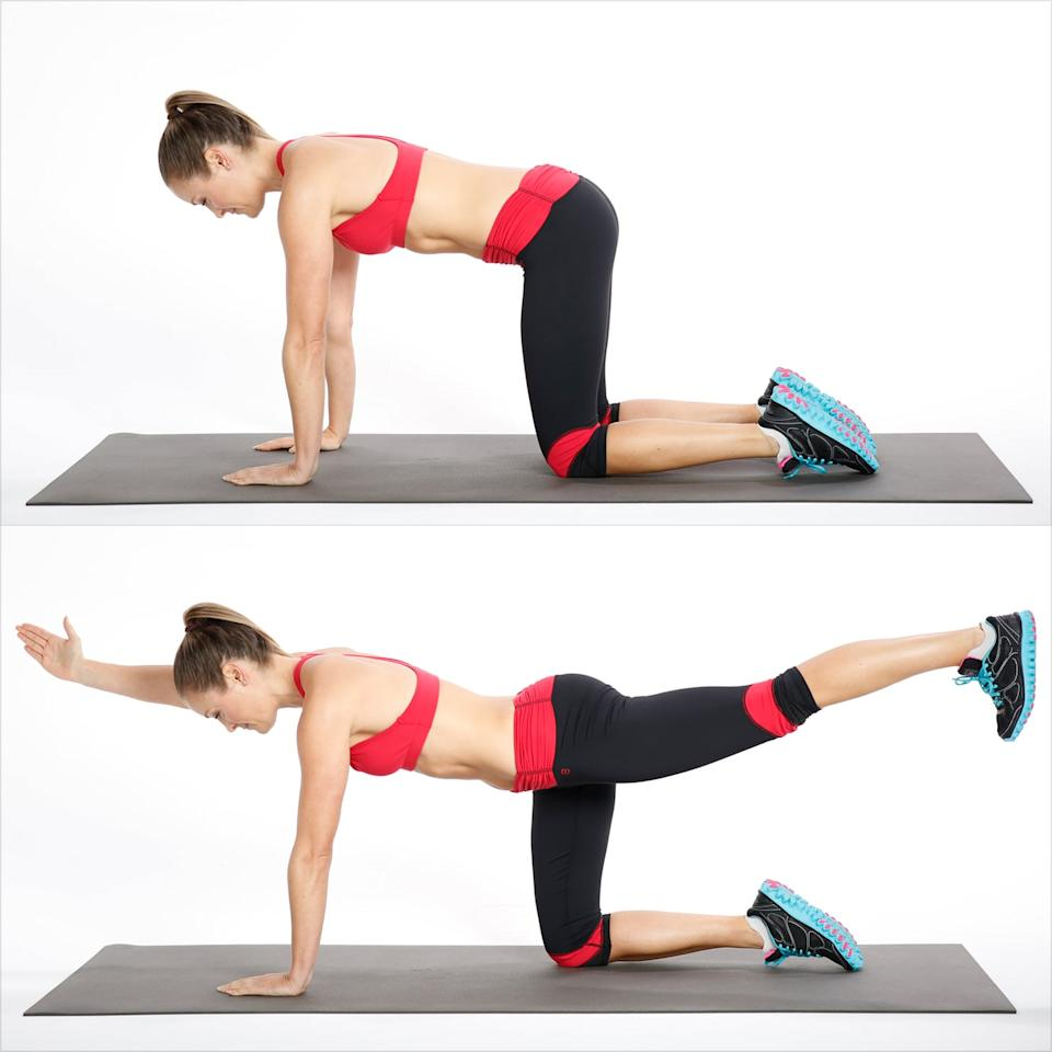 """<p>Bird dog is a <a href=""""https://www.popsugar.com/fitness/Posterior-Core-Exercises-45959183"""" class=""""ga-track"""" data-ga-category=""""Related"""" data-ga-label=""""https://www.popsugar.com/fitness/Posterior-Core-Exercises-45959183"""" data-ga-action=""""In-Line Links"""">posterior core exercise</a> which teaches you to prevent excessive flexion, rounding, of your spine. </p> <ul> <li>Get on all fours, with your knees under your hips and your hands under your shoulders. Remember to keep abs engaged and keep your back flat.</li> <li>Reach out with your right hand and extend your left leg out behind you.</li> <li>Round your back and head to connect your right elbow with your left leg under your body. This completes one rep.</li> </ul>"""