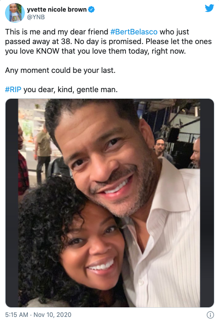 Yvette Nicole Brown has taken to Twitter to mourn the actor's passing. Photo: Twitter/YNB.