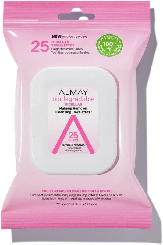 "<h3>Almay Biodegradable Micellar Makeup Remover Cleansing Towelettes</h3><br>These $6 drugstore wipes are made of plant-based fibers and soaked with makeup- and dirt-wicking micelles.<br><br><strong>Almay</strong> Biodegradable Micellar Makeup Remover Towelettes, $, available at <a href=""https://go.skimresources.com/?id=30283X879131&url=https%3A%2F%2Fwww.ulta.com%2Fbiodegradable-micellar-makeup-remover-cleansing-towelettes%3FproductId%3Dpimprod2009089%26sku%3D2549228%26_requestid%3D2587536"" rel=""nofollow noopener"" target=""_blank"" data-ylk=""slk:Ulta Beauty"" class=""link rapid-noclick-resp"">Ulta Beauty</a>"