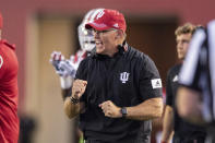 Indiana head coach Tom Allen reacts to the action on the field during the first half of an NCAA college football game against Idaho, Saturday, Sept. 11, 2021, in Bloomington, Ind. (AP Photo/Doug McSchooler)