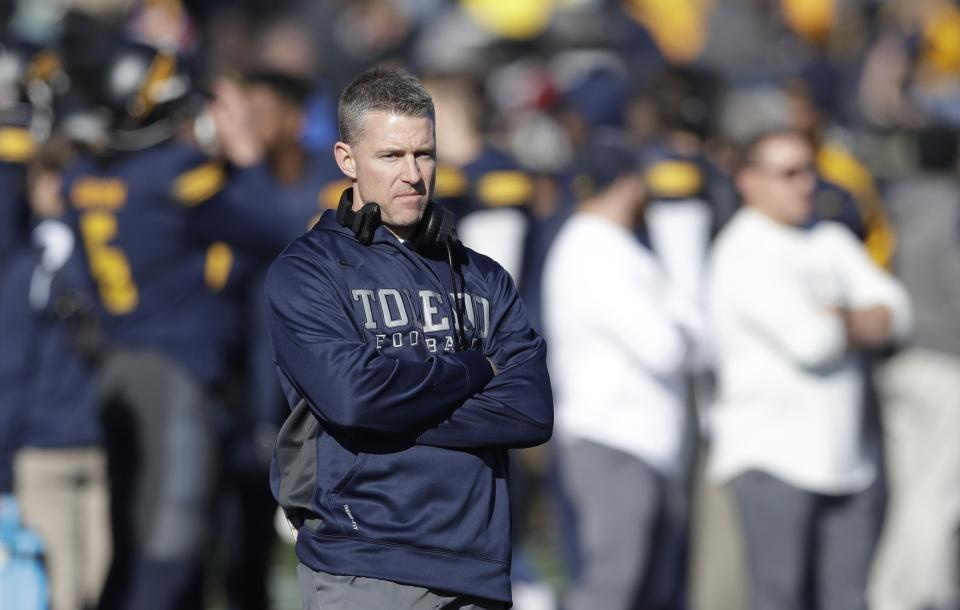 Toledo head coach Jason Candle watches during the first half of a college football game against Western Michigan on Nov. 24, 2017, in Toledo, Ohio.