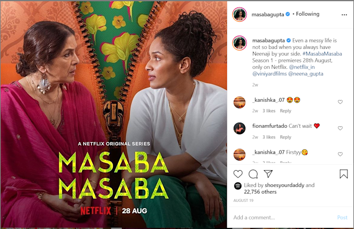 A promotional poster of Masaba Masaba from Masaba Gupta's Instagram page.