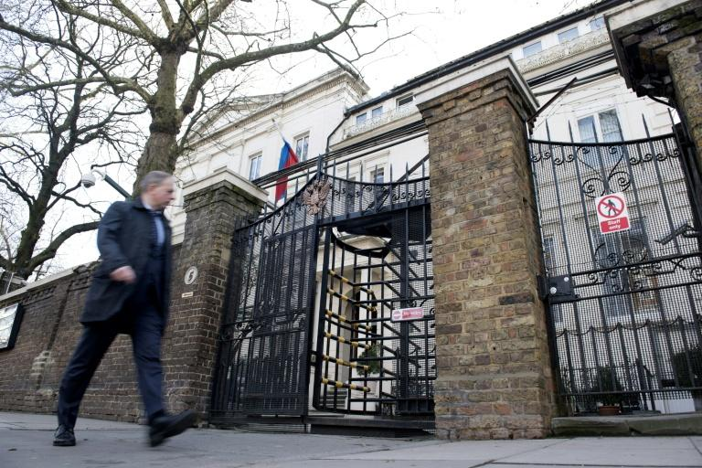 A man walks past The Russian embassy in London