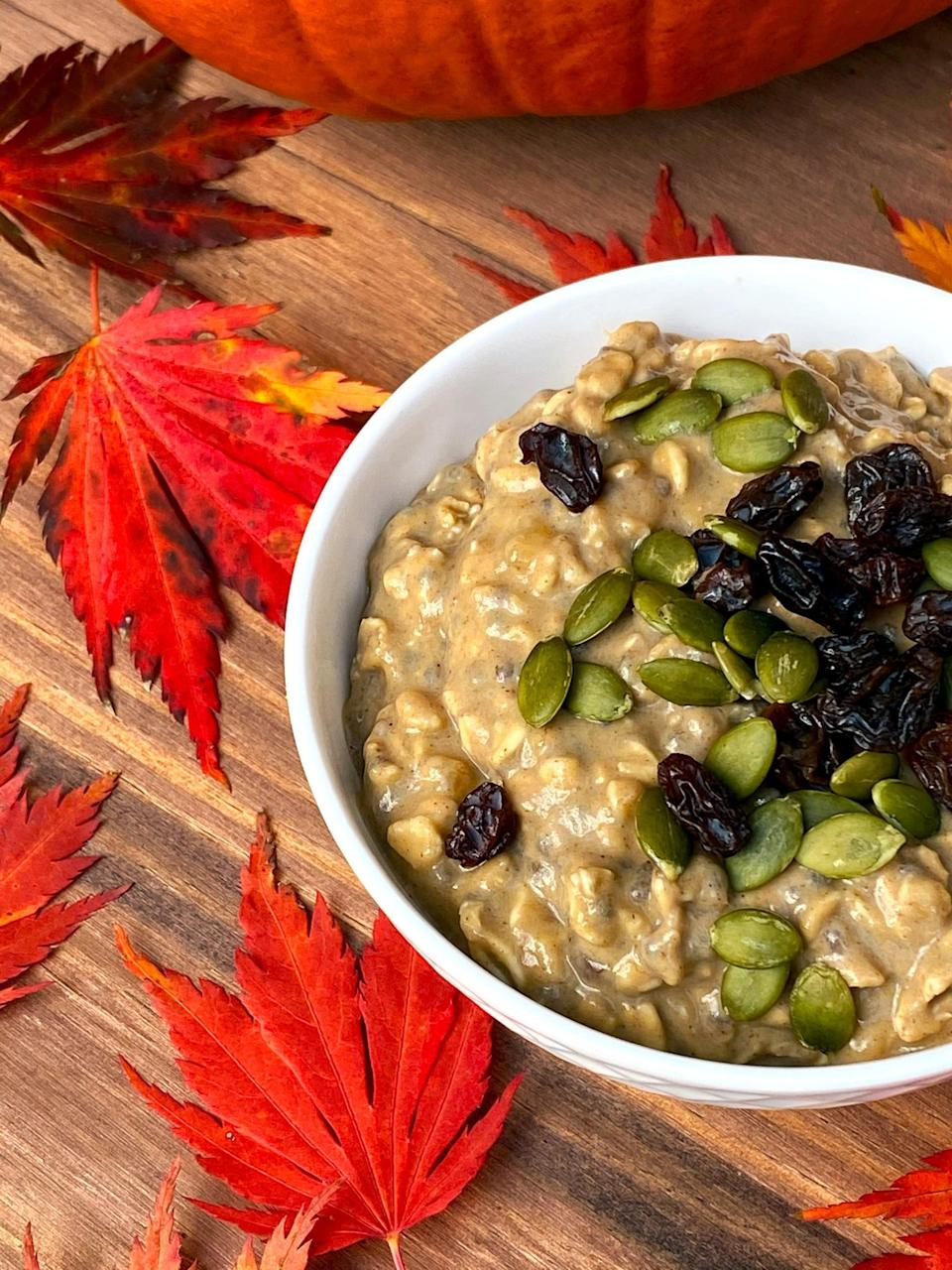 """<p>Besides the typical protein shake or smoothies, I love to add half a scoop into my oatmeal. But you can also use Orgain Pumpkin Spice Protein Powder to make these recipes:</p> <ul> <li><a href=""""https://www.popsugar.com/fitness/vegan-pumpkin-spice-sheet-pan-protein-pancakes-47915980"""" class=""""link rapid-noclick-resp"""" rel=""""nofollow noopener"""" target=""""_blank"""" data-ylk=""""slk:Pumpkin spice sheet pan protein pancakes"""">Pumpkin spice sheet pan protein pancakes</a></li> <li><a href=""""https://www.popsugar.com/fitness/vegan-pumpkin-chocolate-chip-protein-muffins-47873714"""" class=""""link rapid-noclick-resp"""" rel=""""nofollow noopener"""" target=""""_blank"""" data-ylk=""""slk:Pumpkin spice protein muffins"""">Pumpkin spice protein muffins</a></li> <li><a href=""""https://www.popsugar.com/fitness/vegan-chocolate-marbled-pumpkin-protein-bread-47927032"""" class=""""link rapid-noclick-resp"""" rel=""""nofollow noopener"""" target=""""_blank"""" data-ylk=""""slk:Vegan high-protein chocolate marble pumpkin bread"""">Vegan high-protein chocolate marble pumpkin bread</a></li> <li><a href=""""https://www.popsugar.com/fitness/vegan-whole-wheat-protein-waffles-47373138"""" class=""""link rapid-noclick-resp"""" rel=""""nofollow noopener"""" target=""""_blank"""" data-ylk=""""slk:Whole wheat protein waffles"""">Whole wheat protein waffles</a></li> <li><a href=""""https://www.popsugar.com/fitness/high-protein-peanut-butter-banana-baked-oatmeal-47939778"""" class=""""link rapid-noclick-resp"""" rel=""""nofollow noopener"""" target=""""_blank"""" data-ylk=""""slk:Peanut butter banana baked oatmeal"""">Peanut butter banana baked oatmeal</a></li> <li><a href=""""https://www.popsugar.com/fitness/Chocolate-Chip-Pumpkin-Protein-Balls-35959228"""" class=""""link rapid-noclick-resp"""" rel=""""nofollow noopener"""" target=""""_blank"""" data-ylk=""""slk:Chocolate chip pumpkin pie protein balls"""">Chocolate chip pumpkin pie protein balls</a></li> <li><a href=""""https://www.popsugar.com/fitness/Sugar-Free-Oatmeal-Cookies-42629183"""" class=""""link rapid-noclick-resp"""" rel=""""nofollow noopener"""" target=""""_blank"""" data-ylk=""""slk:Banana oat protein cookies"""">"""