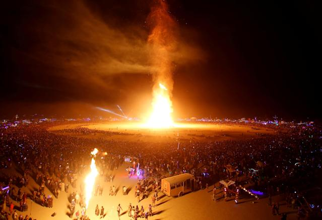 <p>The Man is engulfed in flames as approximately 70,000 people from all over the world gathered for the annual Burning Man arts and music festival in the Black Rock Desert of Nevada, Sept. 2, 2017. (Photo: Jim Urquhart/Reuters) </p>