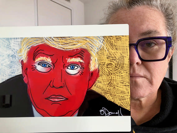 Rosie O'Donnell and her artwork. (Photo: IEtsy/ROSIEOart)