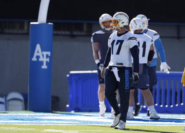 Los Angeles Chargers quarterback Philip Rivers waits to take part in a drill during an NFL football practice Thursday, Nov. 14, 2019, at Air Force Academy, Colo. The Chargers are training at Air Force, which is at an elevation of 7,200 feet, to prepare for Monday night's game against Kansas City in Mexico City. (AP Photo/David Zalubowski)