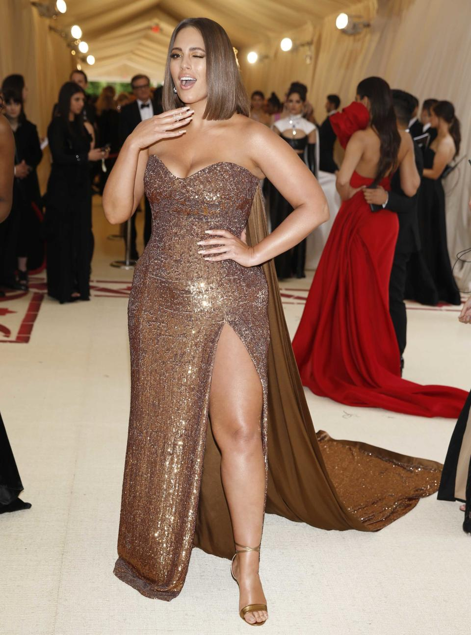 """Model Ashley Graham arrives at the Metropolitan Museum of Art Costume Institute Gala (Met Gala) to celebrate the opening of """"Heavenly Bodies: Fashion and the Catholic Imagination"""" in the Manhattan borough of New York, U.S., May 7, 2018. REUTERS/Carlo Allegri"""