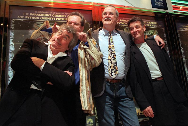 Monty Python stars (L-R) Terry Jones, Terry Gilliam, John Cleese and Michael Palin at a photocall in London's Leicester Square, where they reunited to celebrate their 30th anniversary by attending a charity screening of their film Life Of Brian. * ...to raise money for Macmillan Cancer Relief as a tribute to their late partner Graham Chapman who died a decade ago. Eric Idle was notable by his absence following an apparent fall-out.