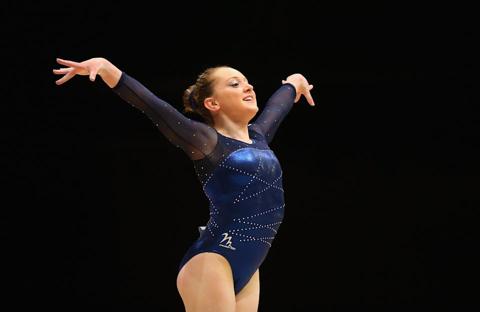GLASGOW, SCOTLAND - OCTOBER 27: Amy Tinkler of Great Britain competes in the Floor during day five of the 2015 World Artistic Gymnastics Championships at The SSE Hydro on October 27, 2015 in Glasgow, Scotland. (Photo by Alex Livesey/Getty Images)