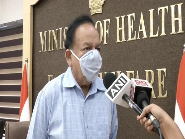 Union Health Minister Dr Harsh Vardhan speaking to reporters on Tuesday. Photo/ANI