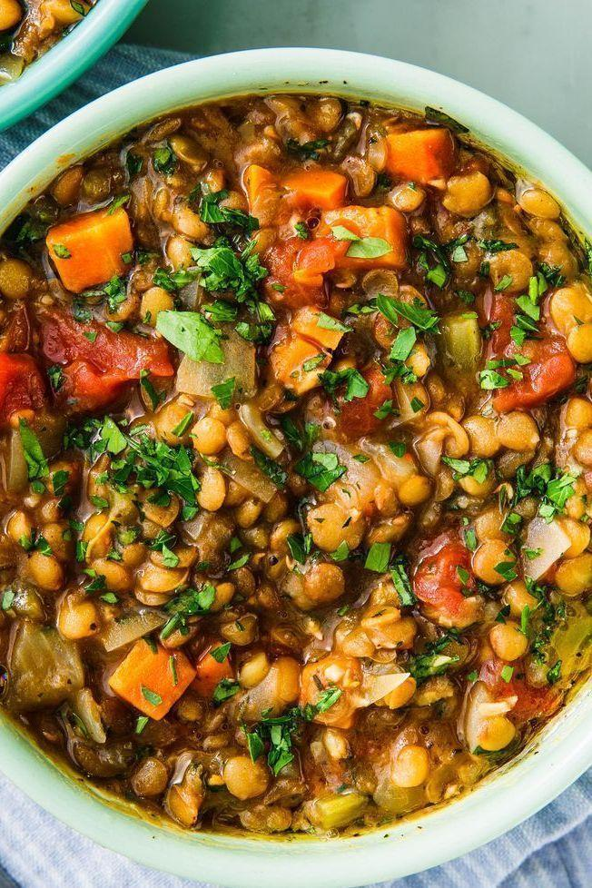 """<p>We love lentil soup for its versatility. We add onion, carrot, celery, and garlic as a base, plus canned tomatoes and fresh thyme. Lentil soup of course also needs lentils. The 18 minute wait is the time the lentils take to cook.</p><p>Get the <a href=""""https://www.delish.com/uk/cooking/recipes/a30130882/instant-pot-lentil-soup/"""" rel=""""nofollow noopener"""" target=""""_blank"""" data-ylk=""""slk:Instant Pot Lentil Soup"""" class=""""link rapid-noclick-resp"""">Instant Pot Lentil Soup</a> recipe.</p>"""