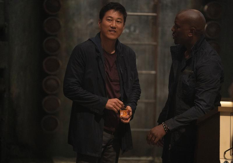 (from left) Han (Sung Kang) and Roman (Tyrese Gibson) in F9, directed by Justin Lin. (Giles Keyte/Universal Pictures)