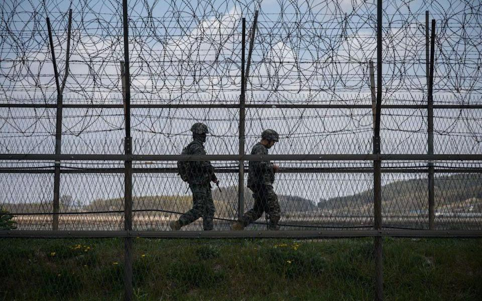 Soldiers patrol the DMZ - Getty