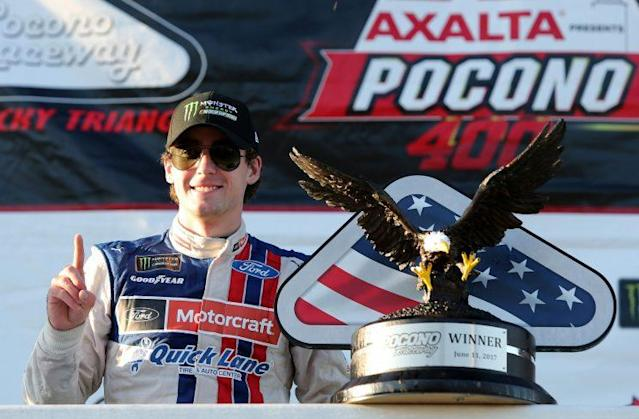 """<a class=""""link rapid-noclick-resp"""" href=""""/nascar/nationwide/drivers/3085"""" data-ylk=""""slk:Ryan Blaney"""">Ryan Blaney</a> got the 99th win for the Wood Brothers. (Getty)"""