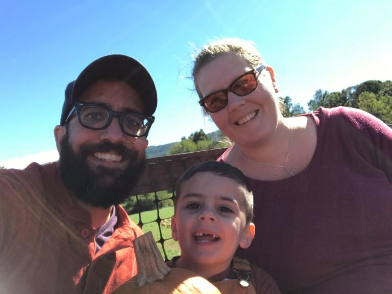 Transgender dad Seth Marlow, left, and his wife, Leah, conceived their son Arlo by using Seth's egg and donor sperm. (Photo: Courtesy of Seth Marlow)