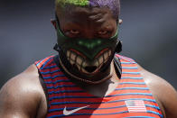 Raven Saunders, of United States, reacts during the woman's shot put final at the 2020 Summer Olympics, Sunday, Aug. 1, 2021, in Tokyo. (AP Photo/Martin Meissner)