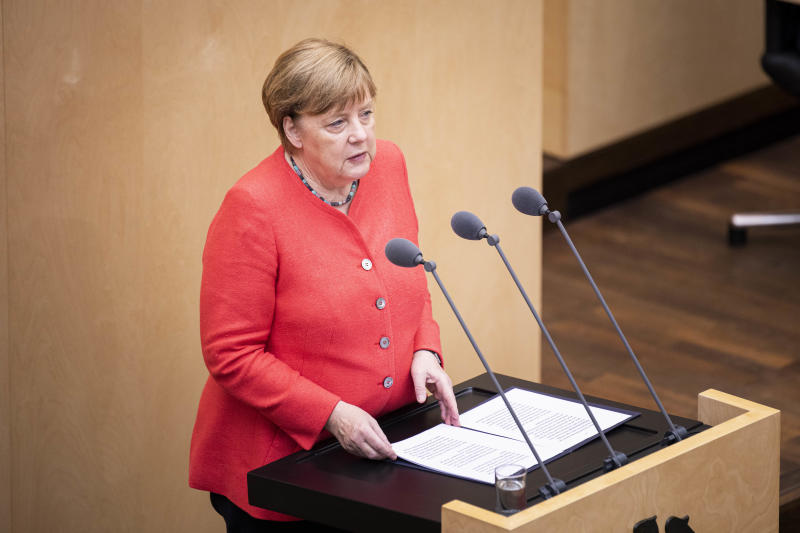 BERLIN, GERMANY - JULY 03: German Chancellor Angela Merkel is pictured during a statement about the EU Council Presidency of Germany during the meeting of the federal council on July 03, 2020 in Berlin, Germany. (Photo by Florian Gaertner/Photothek via Getty Images)