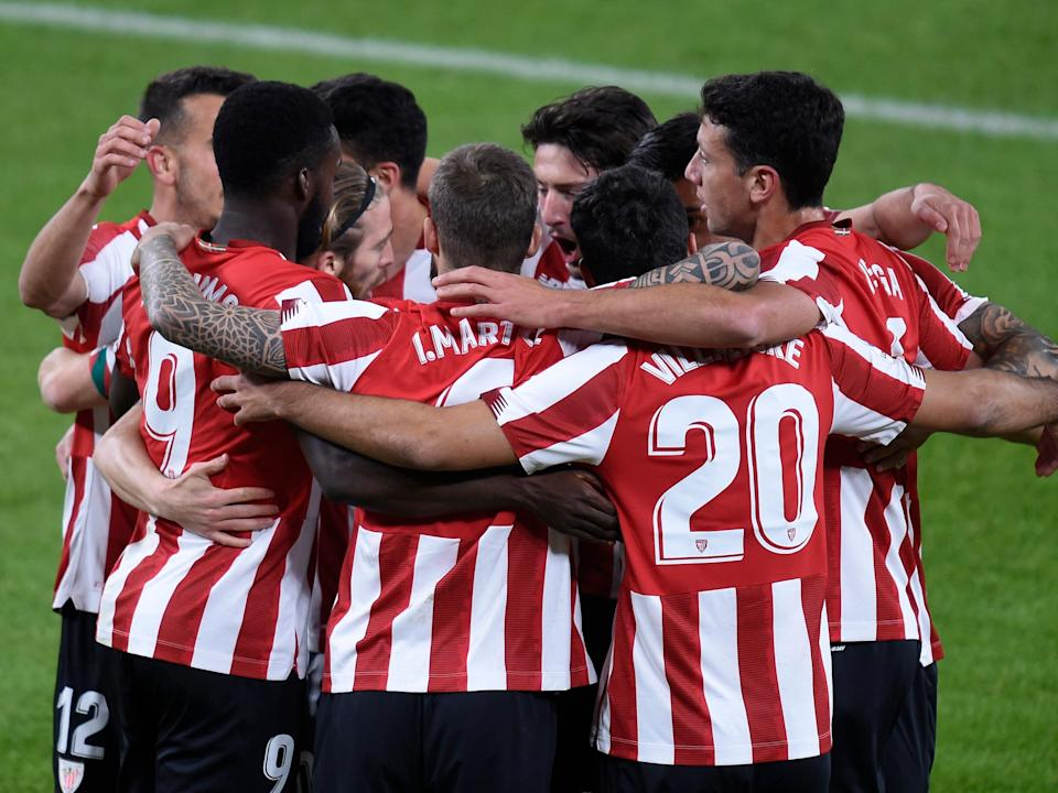 <p>Athletic Club celebrate a goal by Inaki Williams</p> (Getty Images)
