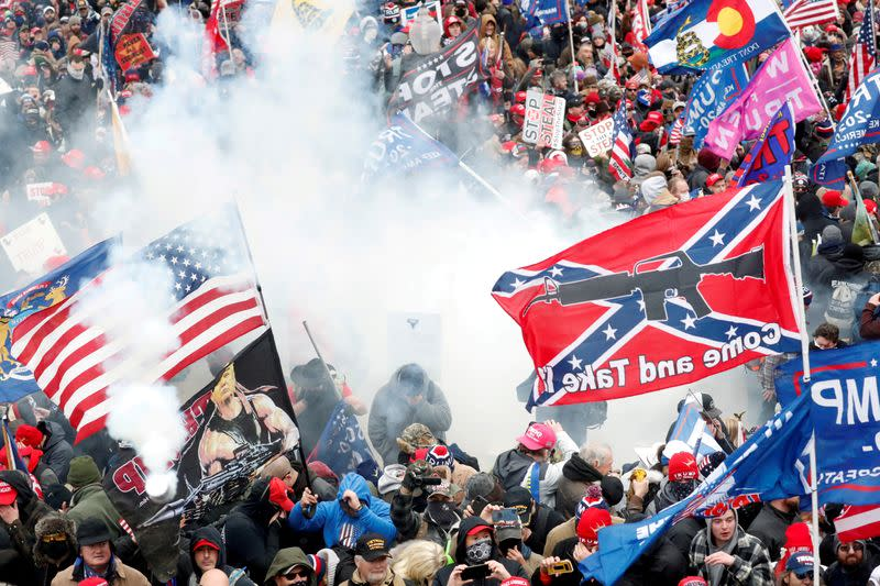 FILE PHOTO: Supporters of U.S. President Donald Trump gather in Washington