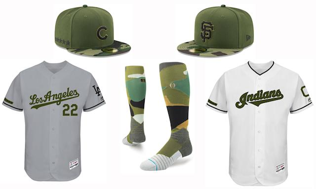 Jerseys, caps and socks for Memorial Day. (MLB)