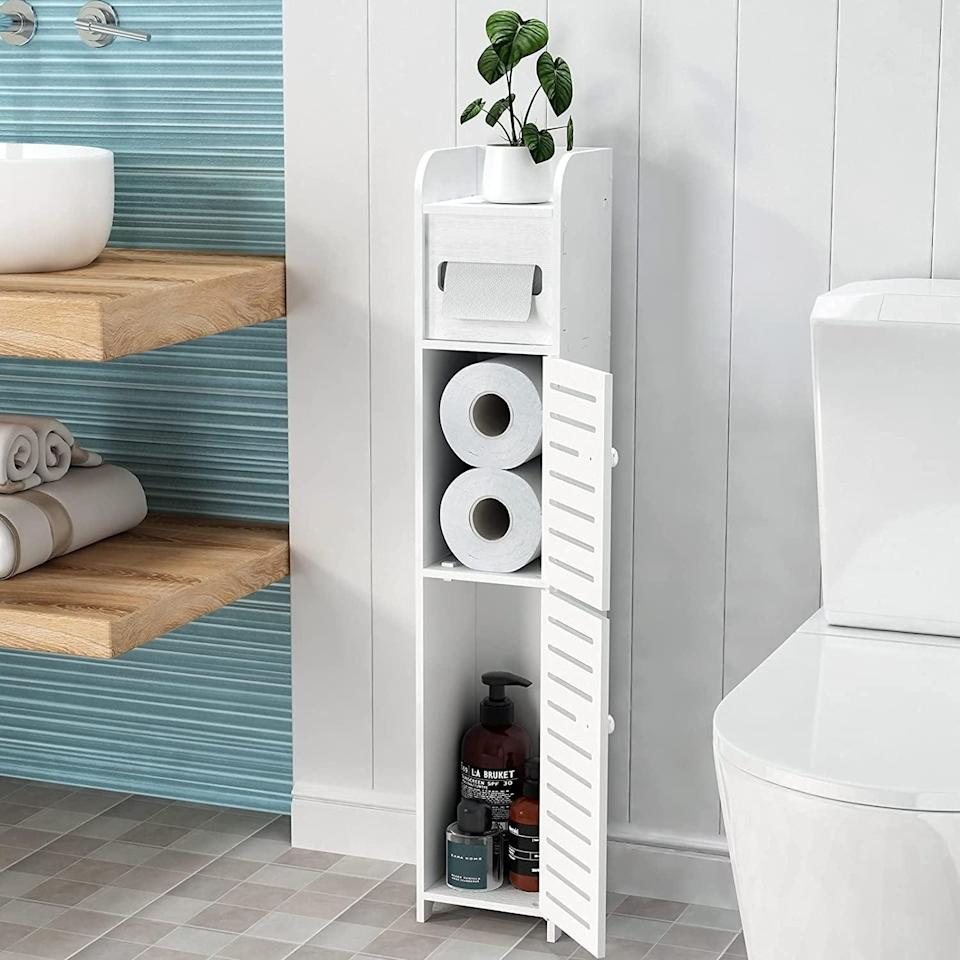 <p>Make use of awkward corners and small spaces with this <span>WODETREE Small Bathroom Storage Cabinet</span> ($25). You can use this to store extra towels, toilet paper, cleaning supplies and more. </p>