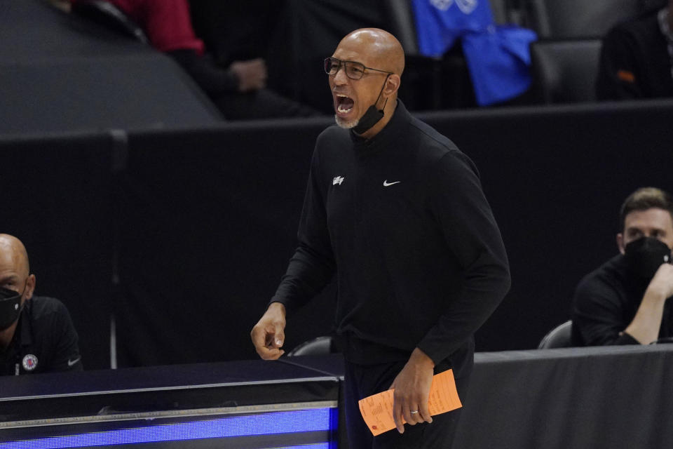 Phoenix Suns head coach Monty Williams yells to his team during the second half in Game 4 of the NBA basketball Western Conference Finals against the Los Angeles Clippers Saturday, June 26, 2021, in Los Angeles. (AP Photo/Mark J. Terrill)
