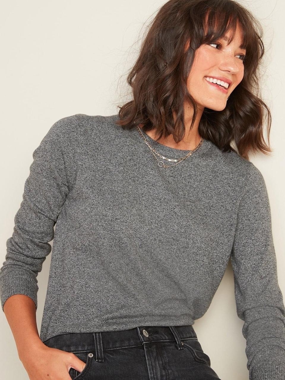 <p>We want to wear this <span>Transitional Crew-Neck Sweater </span> ($25, originally $30) tucked into light-wash denim.</p>