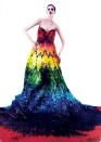 """<p>Inspired by late designer Alexander McQueen, stylists Hissa Igarashi and Sayuri Marakumi created this stunning, rainbow-gradient gown using<a href=""""http://www.mymodernmet.com/profiles/blogs/mcqueen-inspired-50000-gummy-bears-dress"""" rel=""""nofollow noopener"""" target=""""_blank"""" data-ylk=""""slk:50,000 gummy bears"""" class=""""link rapid-noclick-resp""""> 50,000 gummy bears</a> glued to a vinyl base in 2012. In all, it weighed 220 pounds. Must've been really tough not munching on some of the chewy embellishments, especially with all those red ones up top (since everyone knows red is the best flavor)!</p>"""