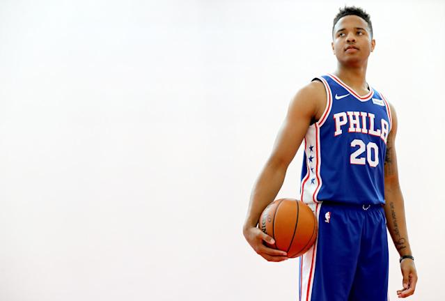 "<a class=""link rapid-noclick-resp"" href=""/nba/teams/phi/"" data-ylk=""slk:Philadelphia 76ers"">Philadelphia 76ers</a> rookie <a class=""link rapid-noclick-resp"" href=""/ncaab/players/136166/"" data-ylk=""slk:Markelle Fultz"">Markelle Fultz</a> has not played since Oct. 23. (Photo by Abbie Parr/Getty Images)"